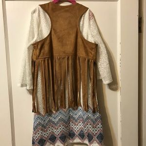 Super cute girls dress with fringed vest!